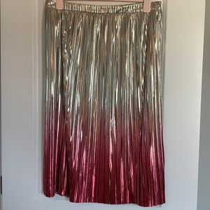 NWT Anthro pink/silver ombré midi skirt. Size 10